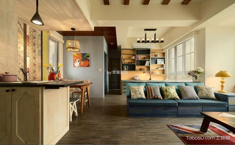 客厅咖啡色地板砖田园风格装饰效果图