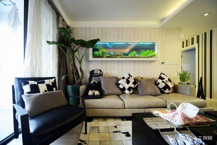 客厅黑色茶几混搭风格装修效果图