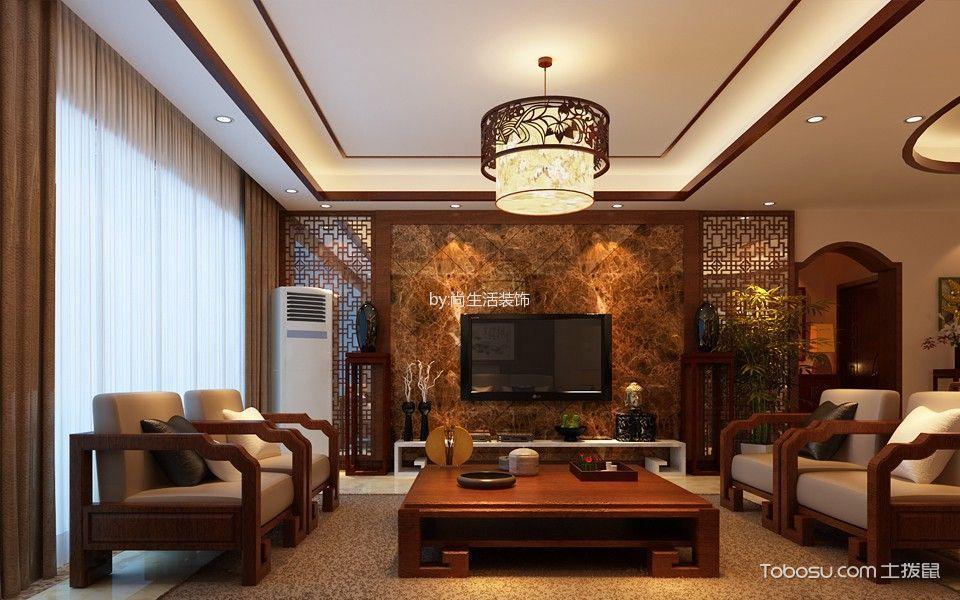 桓湖花园中式风格4室2厅2卫装修效果图