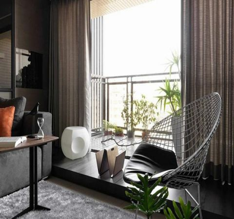 阳台窗帘现代简约风格装修图片