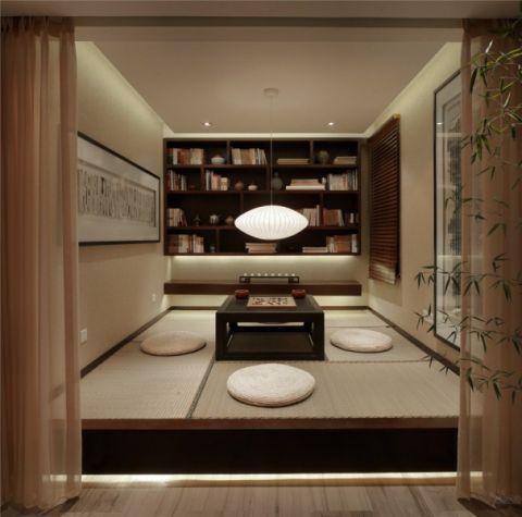 书房榻榻米新中式风格装潢效果图