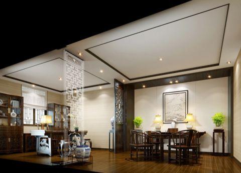 餐厅背景墙中式风格装潢设计图片