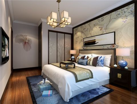 卧室吊顶新中式风格装潢效果图