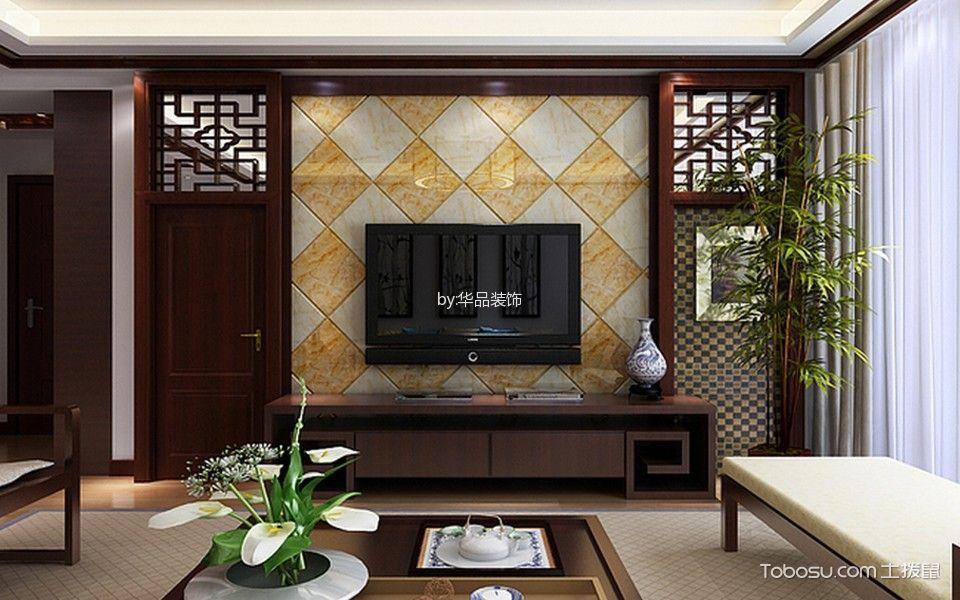 客厅 背景墙_雅居乐120平中式装修效果图