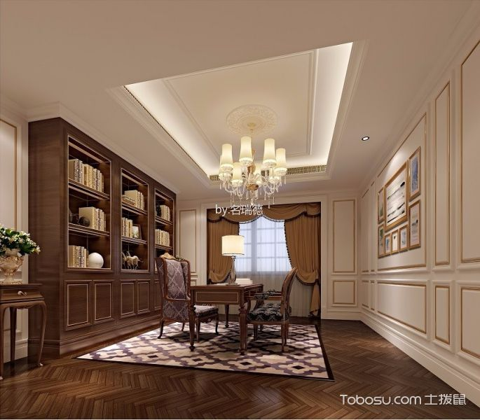 书房咖啡色书桌实景图