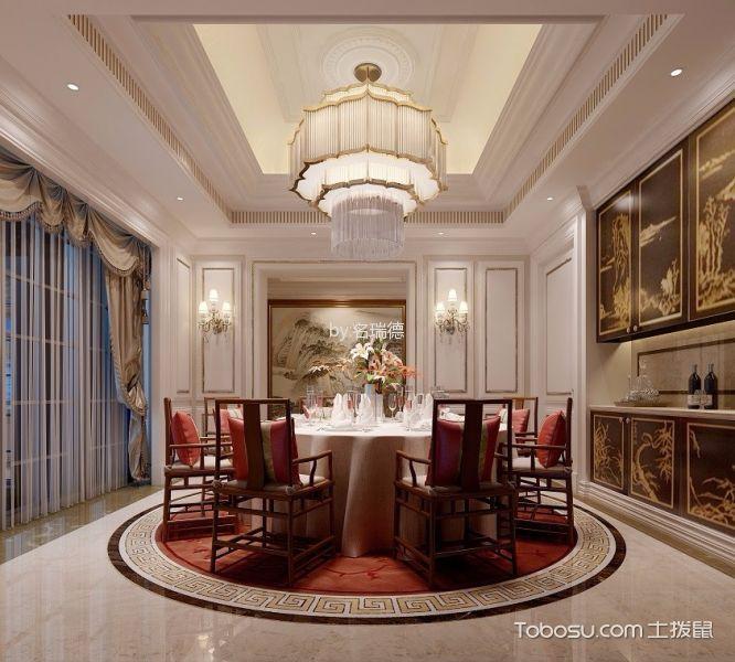 餐厅白色吊顶简欧风格装潢图片