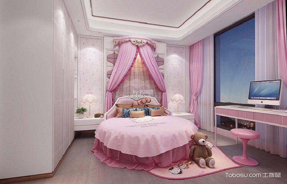 儿童房粉色窗帘混搭风格装饰图片