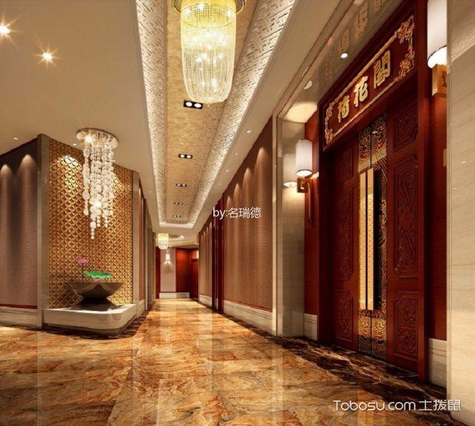 中式风格粤菜馆过道走廊设计效果图