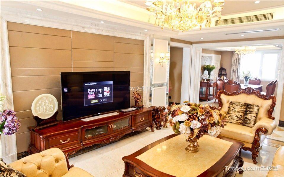 客厅咖啡色电视背景墙简欧风格装修图片