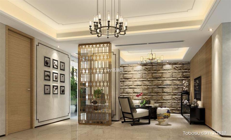 客厅黄色隔断混搭风格装潢效果图