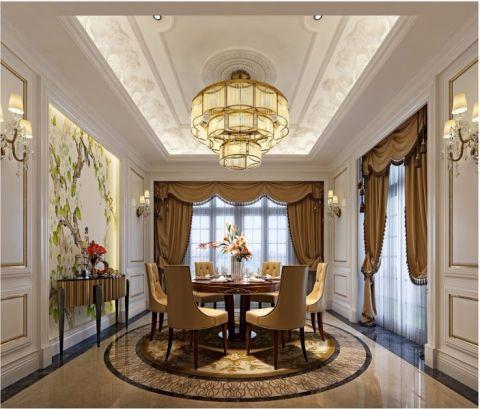 餐厅咖啡色餐桌简欧风格装潢设计图片