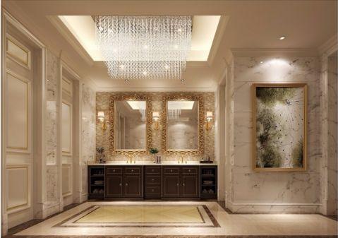 卫生间咖啡色洗漱台简欧风格效果图