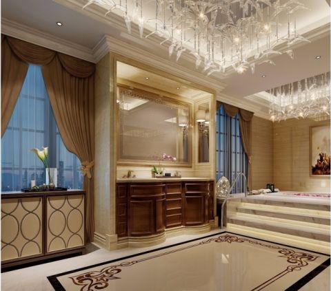 卫生间咖啡色洗漱台简欧风格装潢效果图
