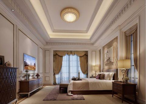 卧室咖啡色电视柜简欧风格装修图片