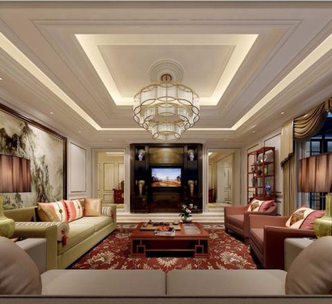 客厅黄色沙发简欧风格装饰图片