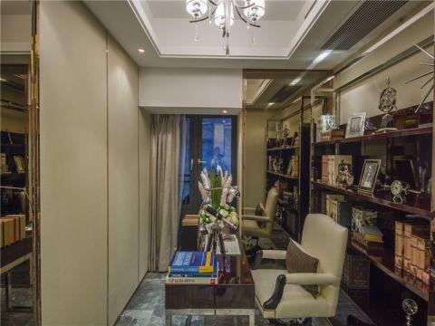书房米色窗帘现代风格装饰设计图片