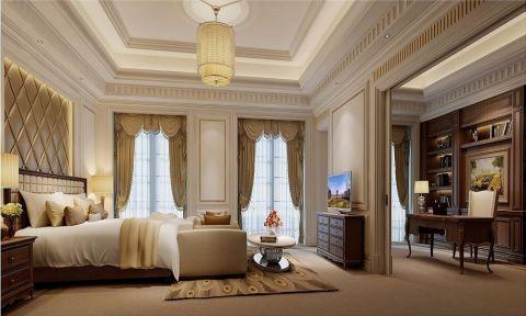 卧室黄色窗帘简欧风格装饰设计图片