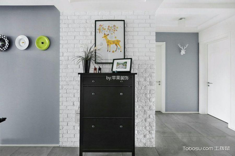 客厅灰色电视背景墙北欧风格装潢图片