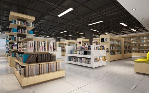 1500平方书店工装装修效果图
