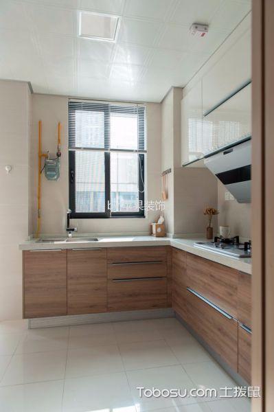 厨房咖啡色橱柜日式风格装修图片