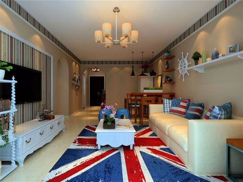 加桥悦山国际美式风格三居室装修效果图