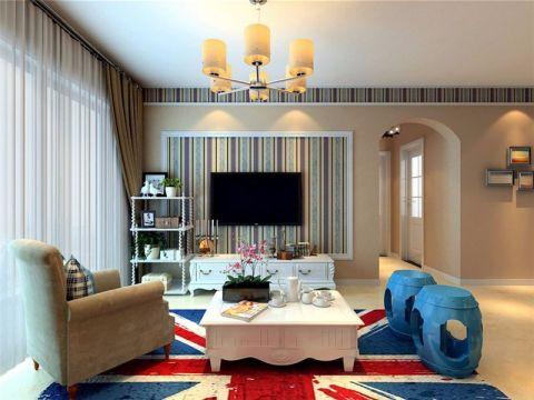 客厅窗台美式风格装饰设计图片