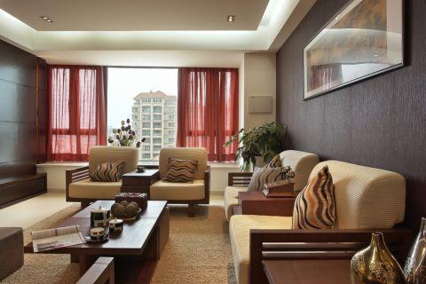 客厅窗台新中式风格装潢设计图片