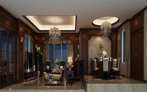 客厅推拉门美式风格装饰效果图