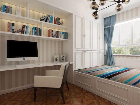 书房窗帘美式风格装修设计图片