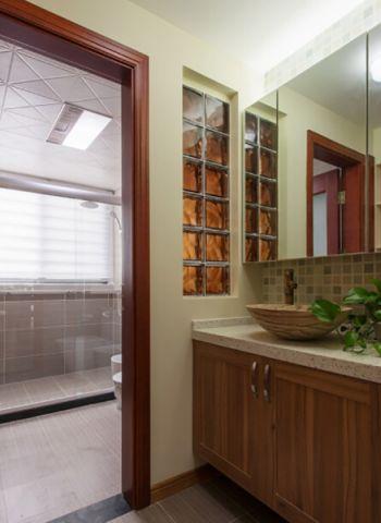 卫生间背景墙中式风格装潢图片