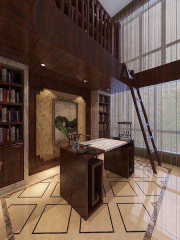 书房博古架新中式风格装潢设计图片