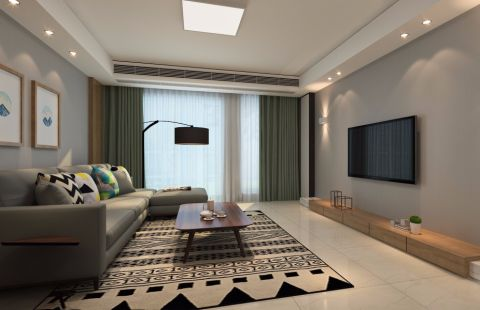 客厅吊顶日式风格装潢效果图