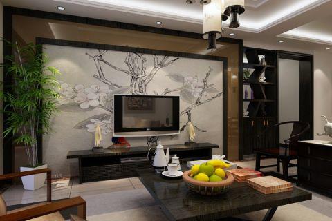新中式电视墙客厅茶几设计效果图