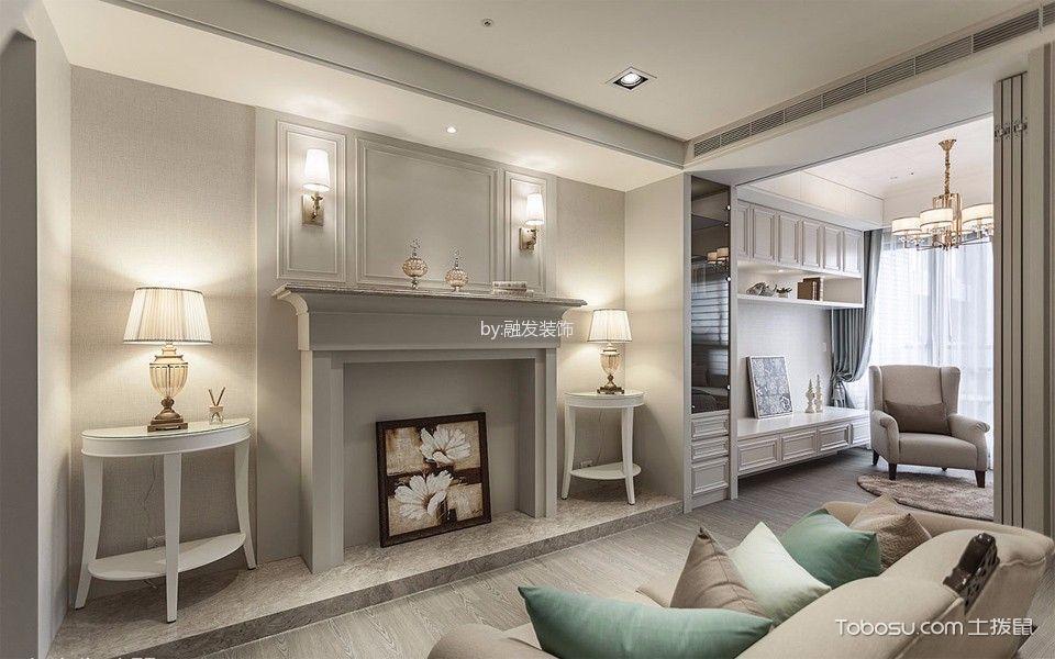 客厅灰色地板砖美式风格装修效果图