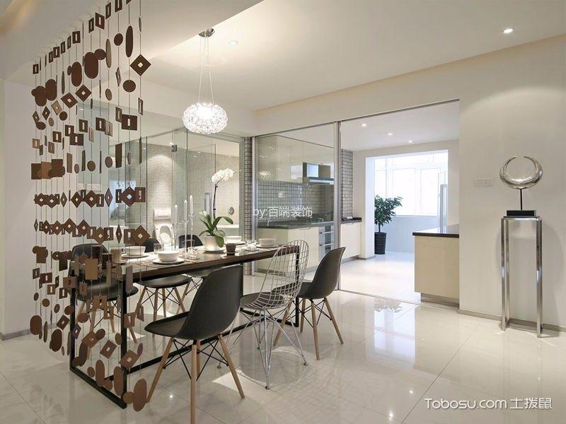 餐厅咖啡色餐桌简约风格装饰设计图片