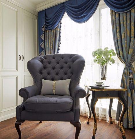 蓝色窗帘设计