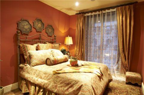 卧室红色背景墙美式风格装饰图片