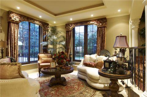 客厅咖啡色窗帘美式风格装潢图片