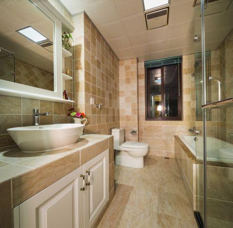 卫生间米色背景墙美式风格装修图片