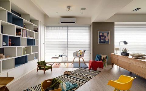 客厅白色博古架北欧风格效果图