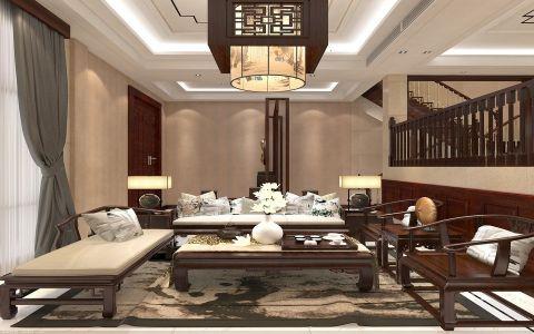 客厅吊顶中式风格装潢图片