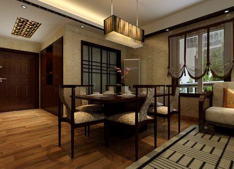 元一柏庄126平中式风格三居室效果图