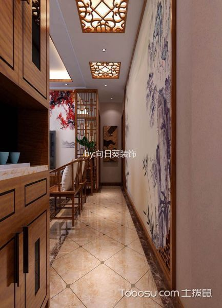 客厅橙色走廊新中式风格效果图