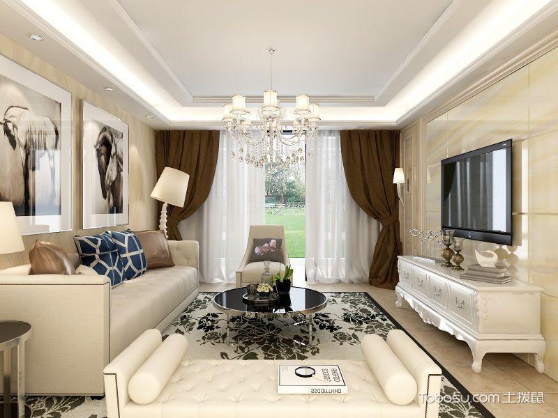润城东方米色120平简欧三室一厅室装修效果图