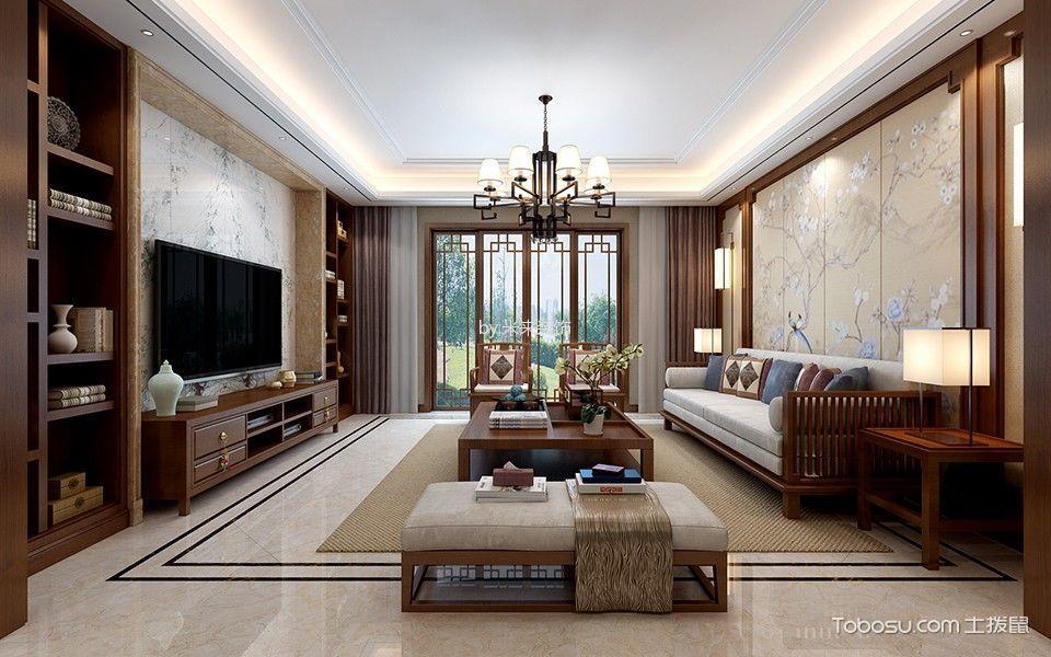 天元世家新中式三居室效果图