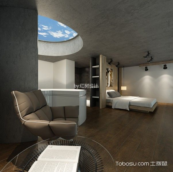 卧室灰色吊顶混搭风格装修设计图片
