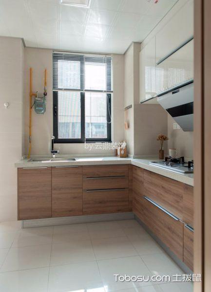 厨房咖啡色橱柜日式风格装潢效果图