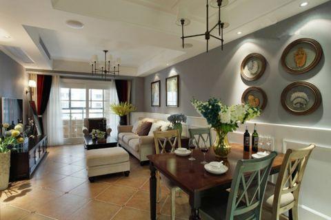 白金汉宫110平米美式风格三居室装修效果图