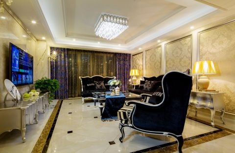 嘉州洋房140平三室两厅两卫新古典风格装修效果图