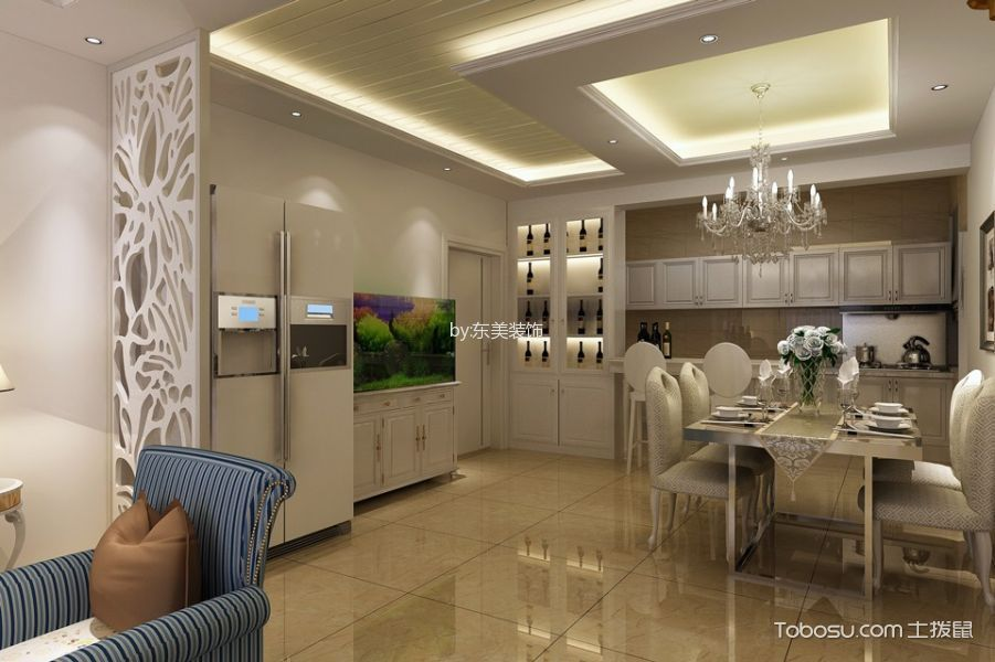 餐厅黄色地砖现代风格装饰设计图片